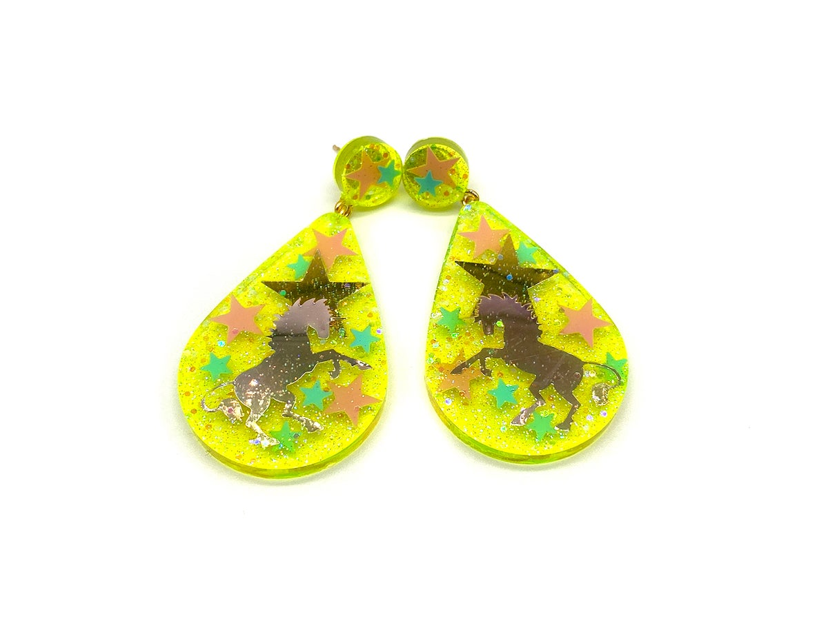 Image of Unicorn Magic Drop Statement earrings Neon Yellow