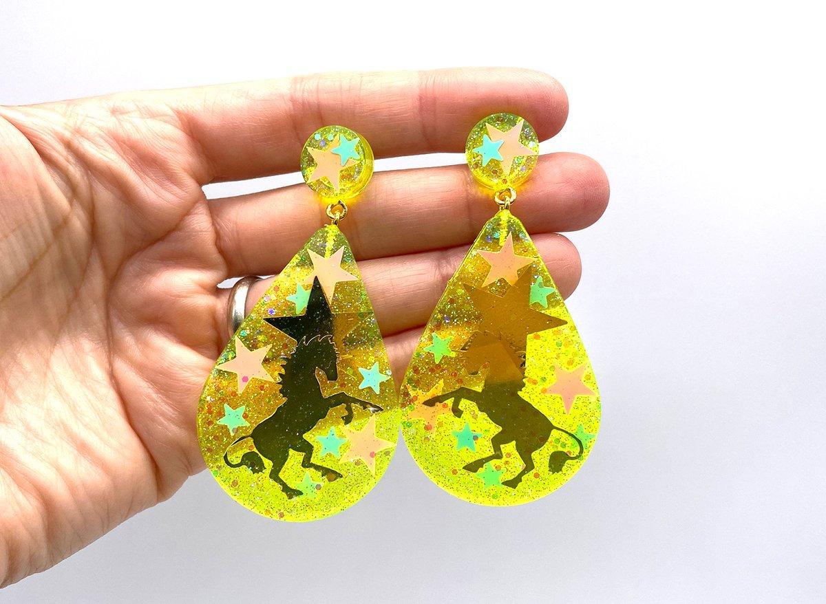 Image of Unicorn Magic Drop Statement earrings Neon Yellow