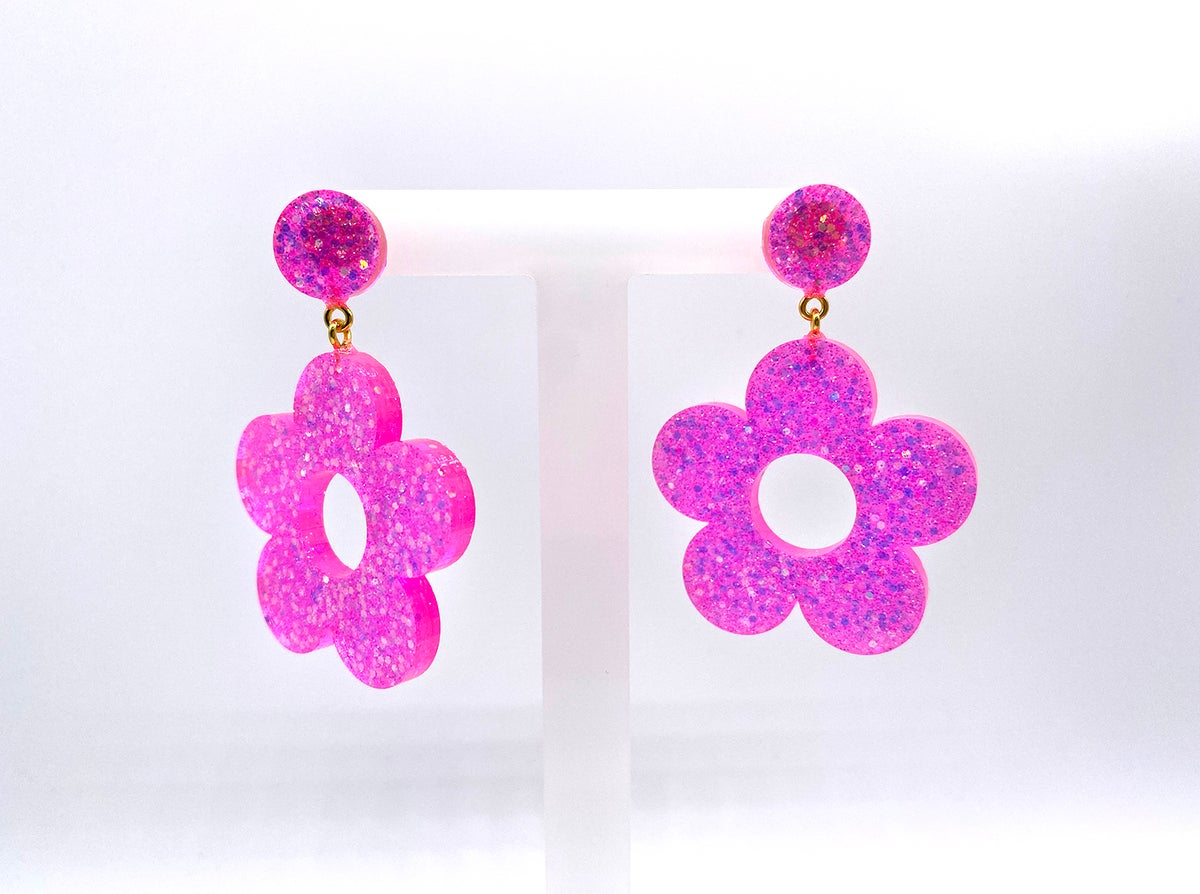 Image of Neon Pink Flower Power Statement Earrings