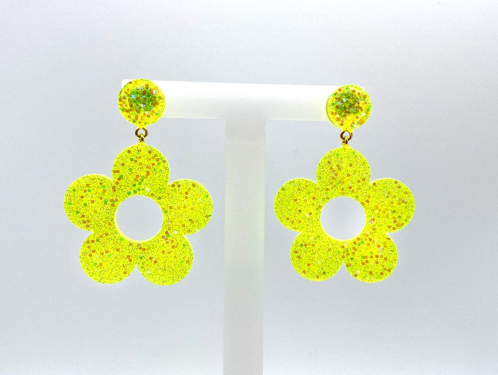 Image of Neon Lemon Flower Power Statement Earrings