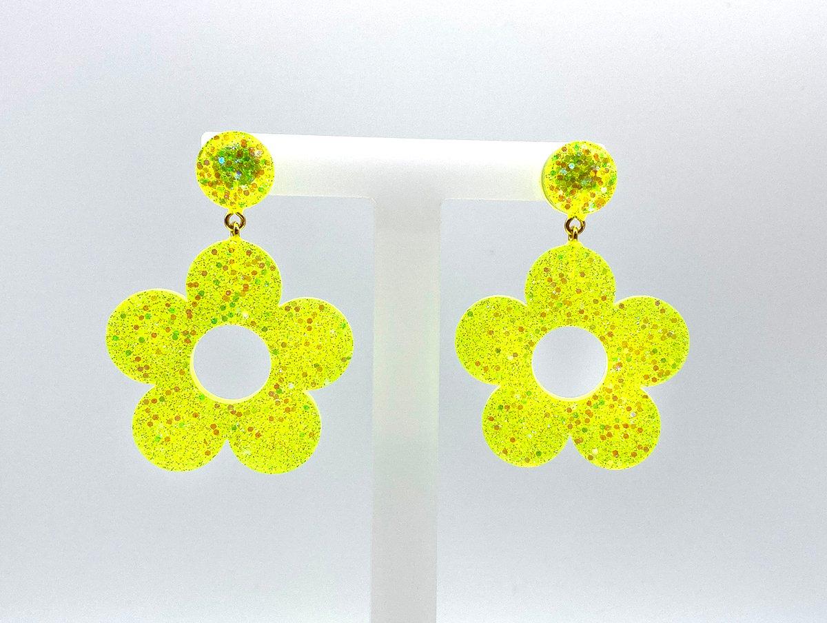 Image of Neon Lemon Flower Power Statement Earrings
