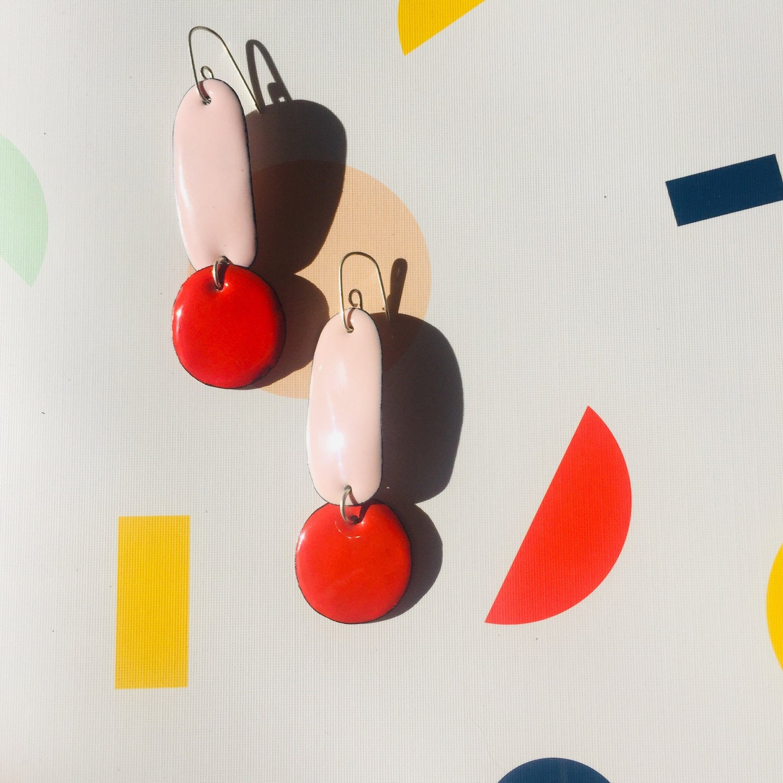 Image of Double drop Earrings - Blush pink & Tangerine