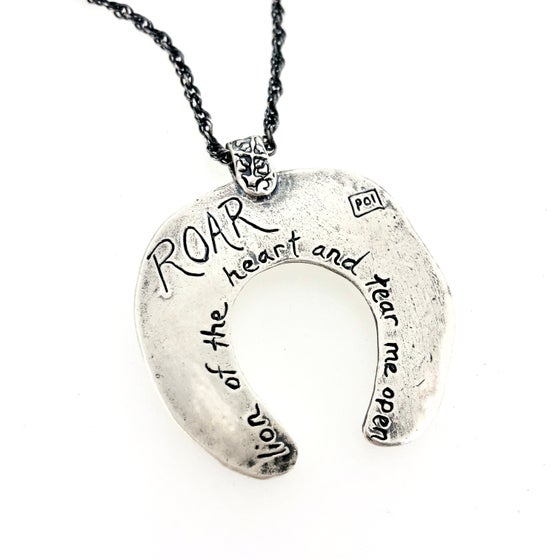 Image of lion of the heart Rumi quote necklace