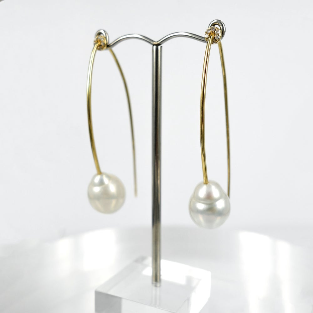 Image of 14ct yellow gold diamond and pearl long hook earrings
