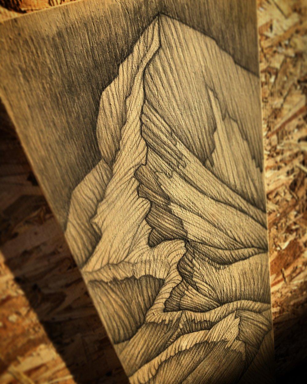 "Image of Mount Everest #2 Mixed Media on Wood 8""X24"""