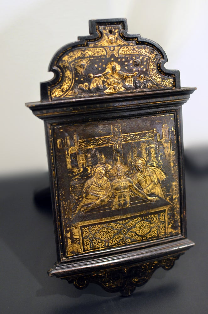 Image of A scarce damascened devotional pax attributed to the workshop of Giovan Battista Panzeri