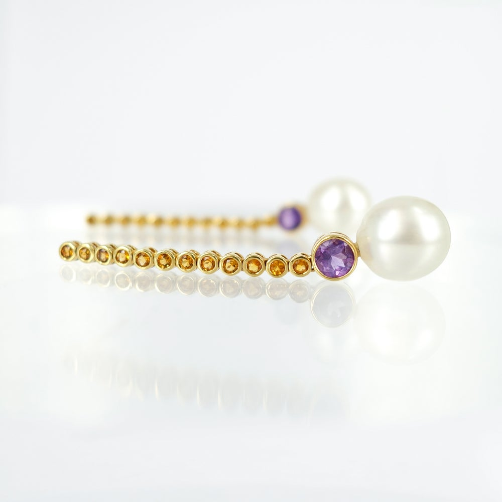 Image of Citrine and Pearl Drop earrings