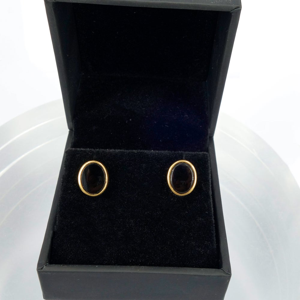 Image of 9ct yellow gold black Onyx stud earrings