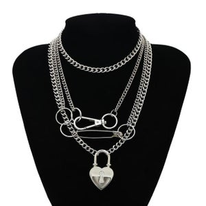 Image of Chunky Layered Heart Padlock Necklace