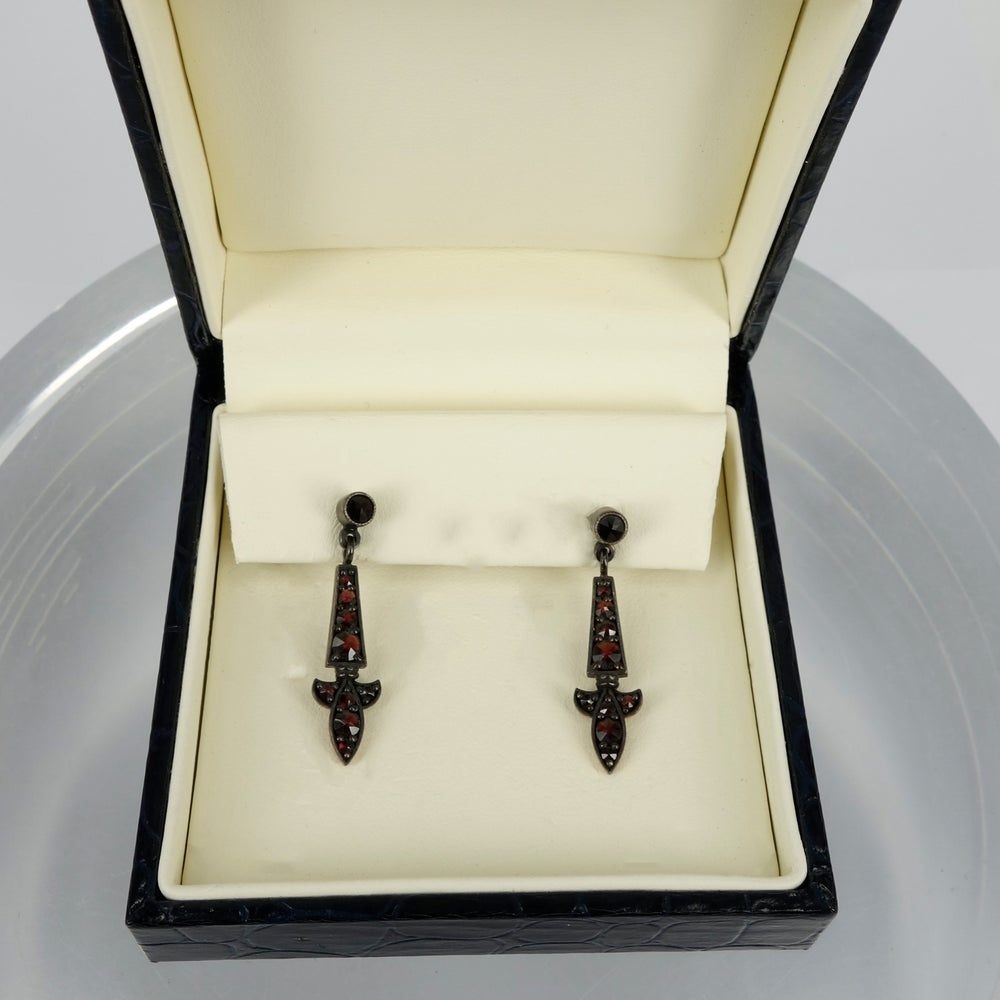 Image of Czech garnet earrings