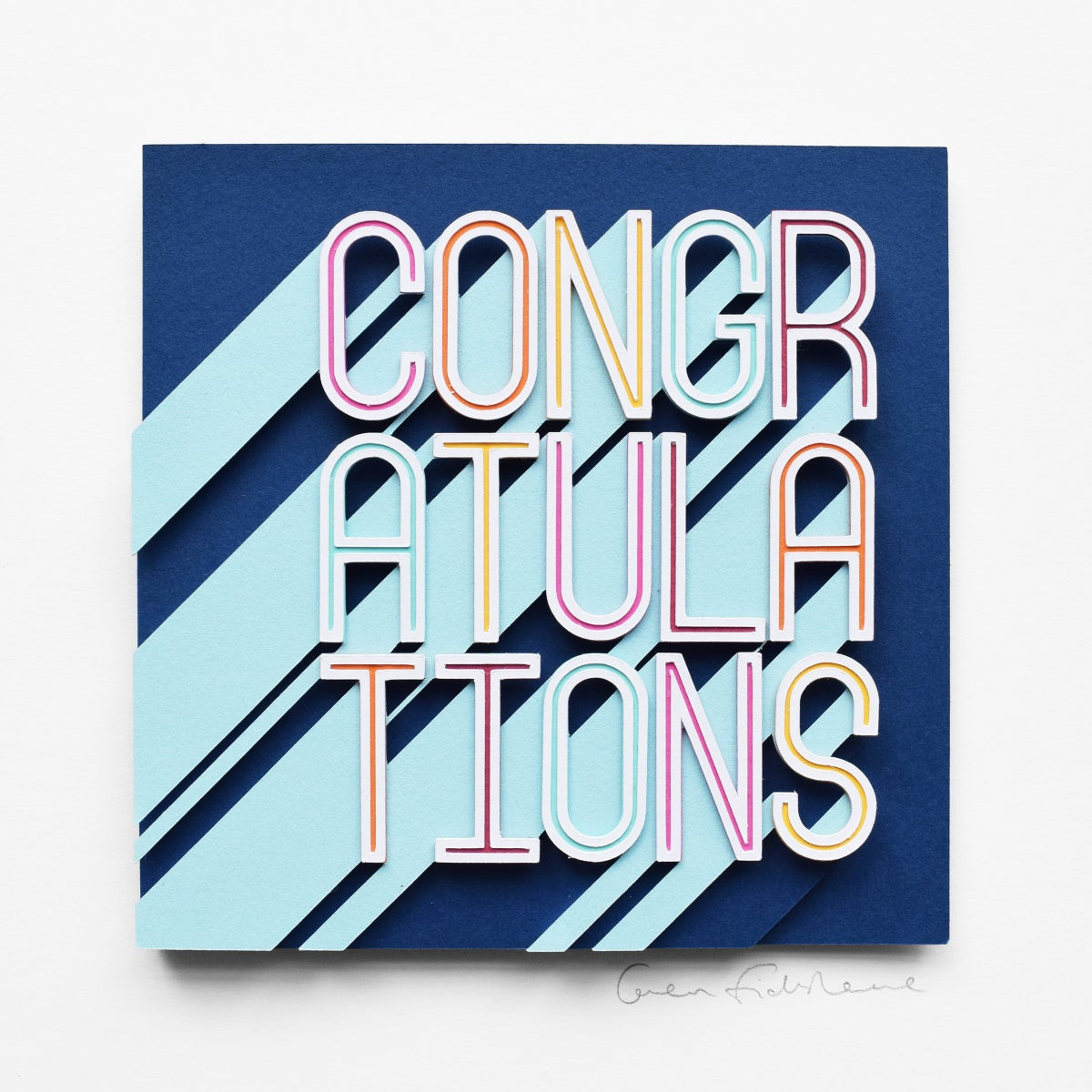 Image of CONGRATULATIONS – Framed Original Paper Cut Artwork