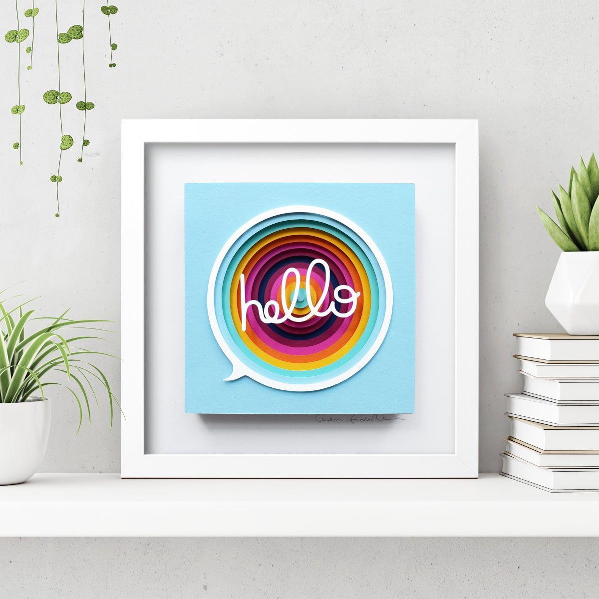 Image of Hello – Framed Original Paper Cut Artwork