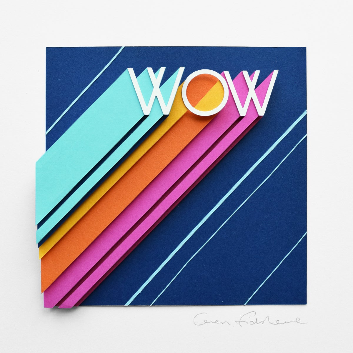 Image of WOW – Framed Original Paper Cut Artwork