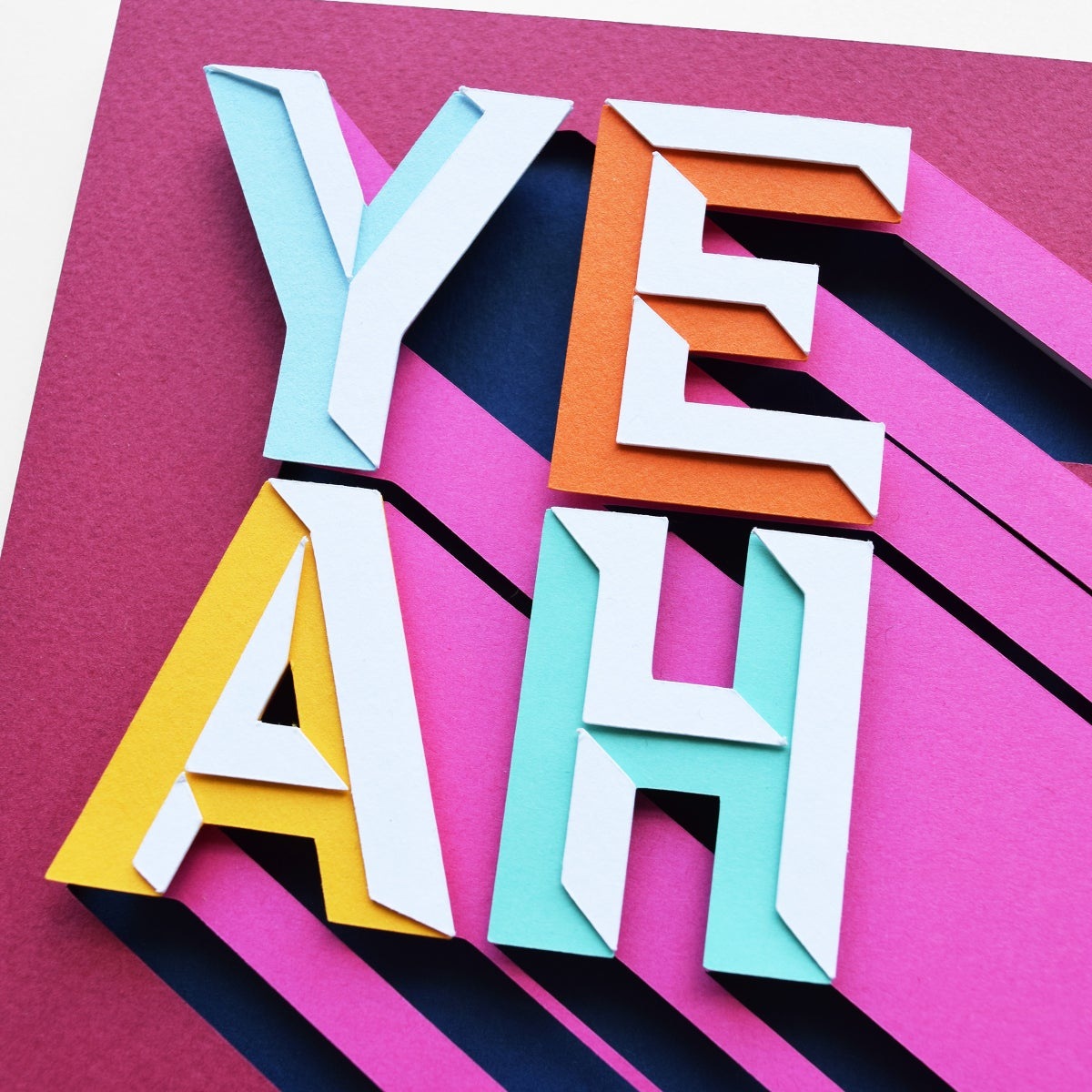 Image of YEAH – Framed Original Paper Cut Artwork