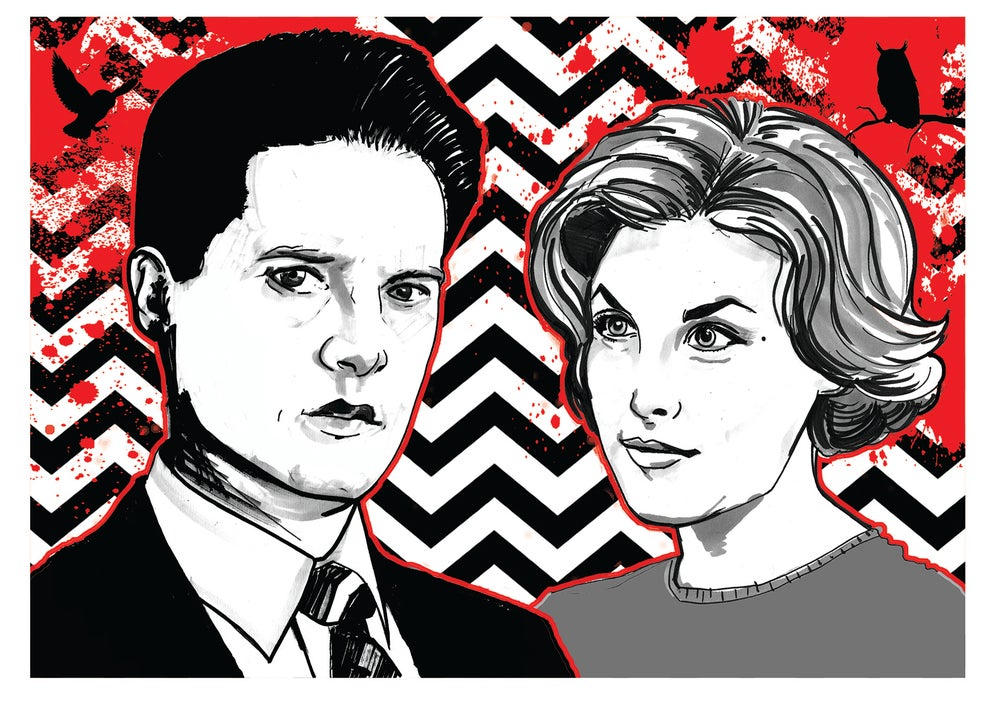 Image of Twin Peaks 'Cooper and Audrey' Comic illustration A4 Signed Print