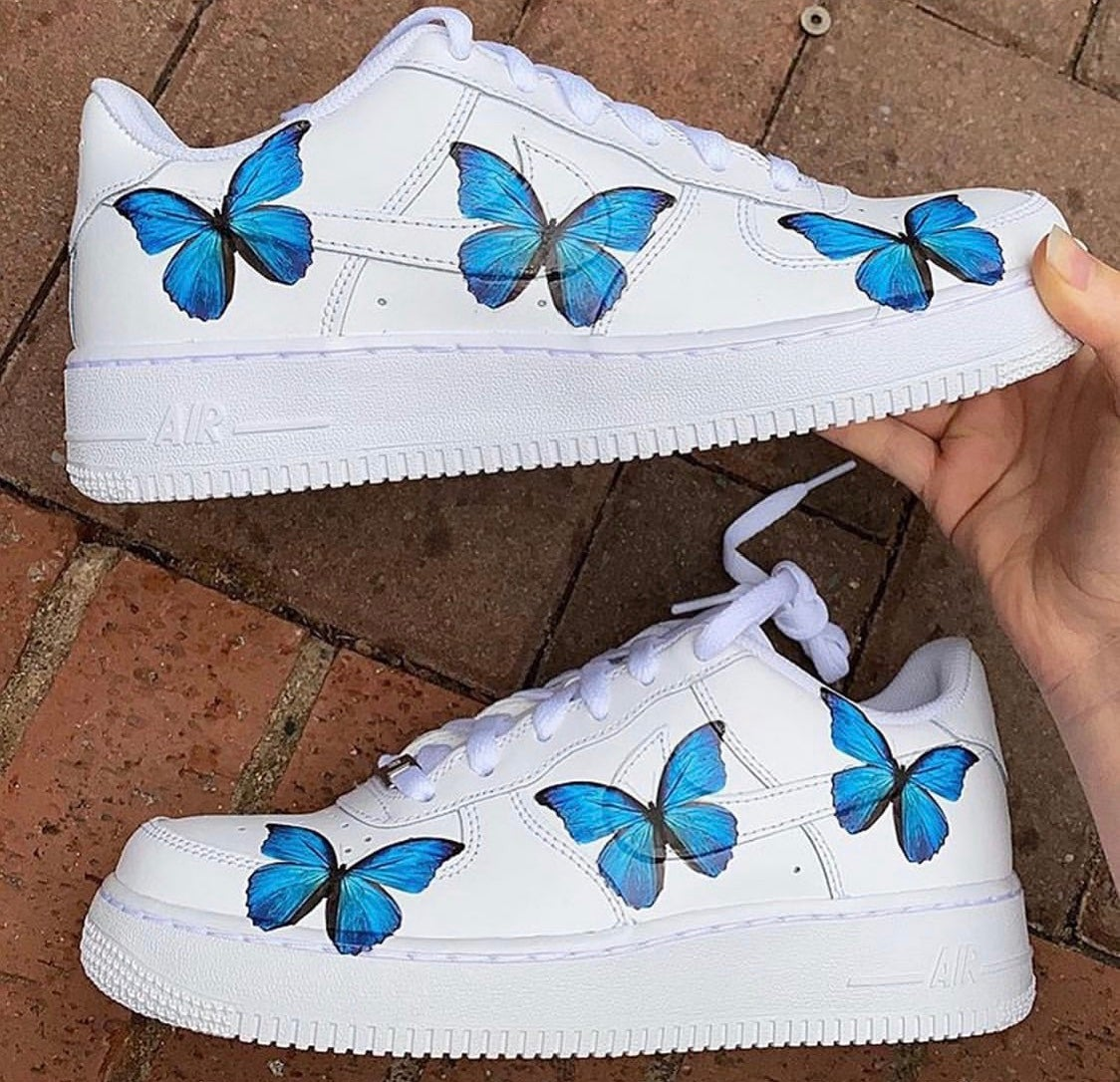 nikes with butterflies