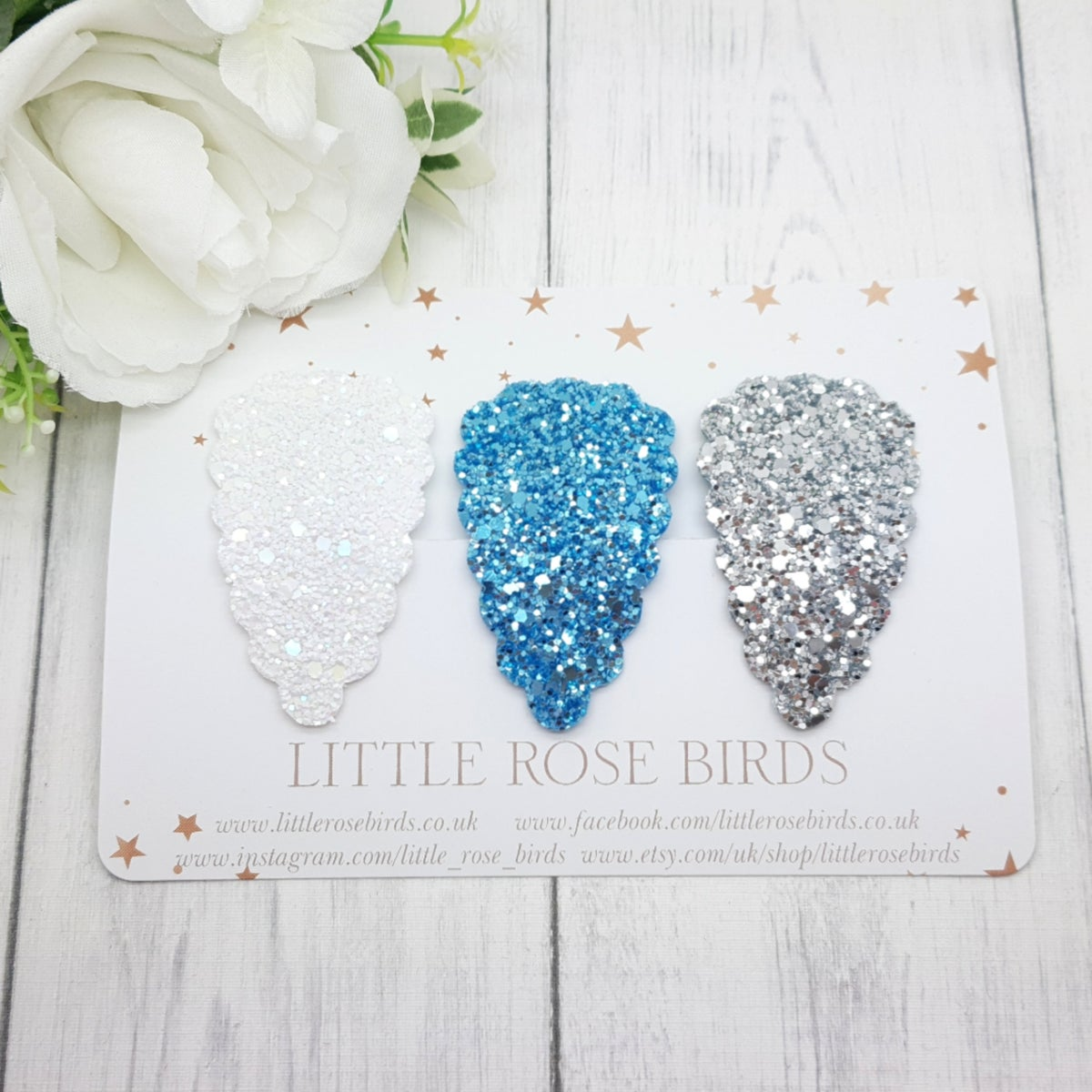 Image of White Blue and Silver Glitter Scallop Snap Clip Set