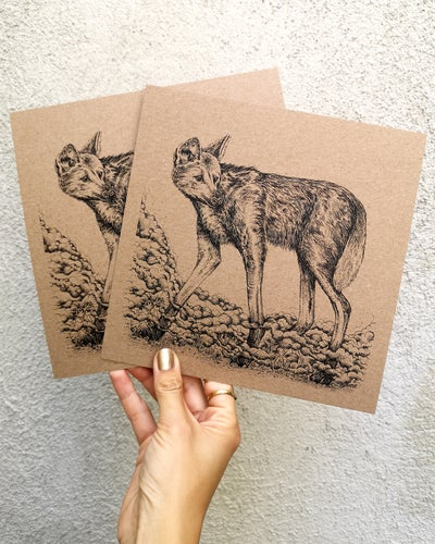 Image of Maned Wolf on recycled brown