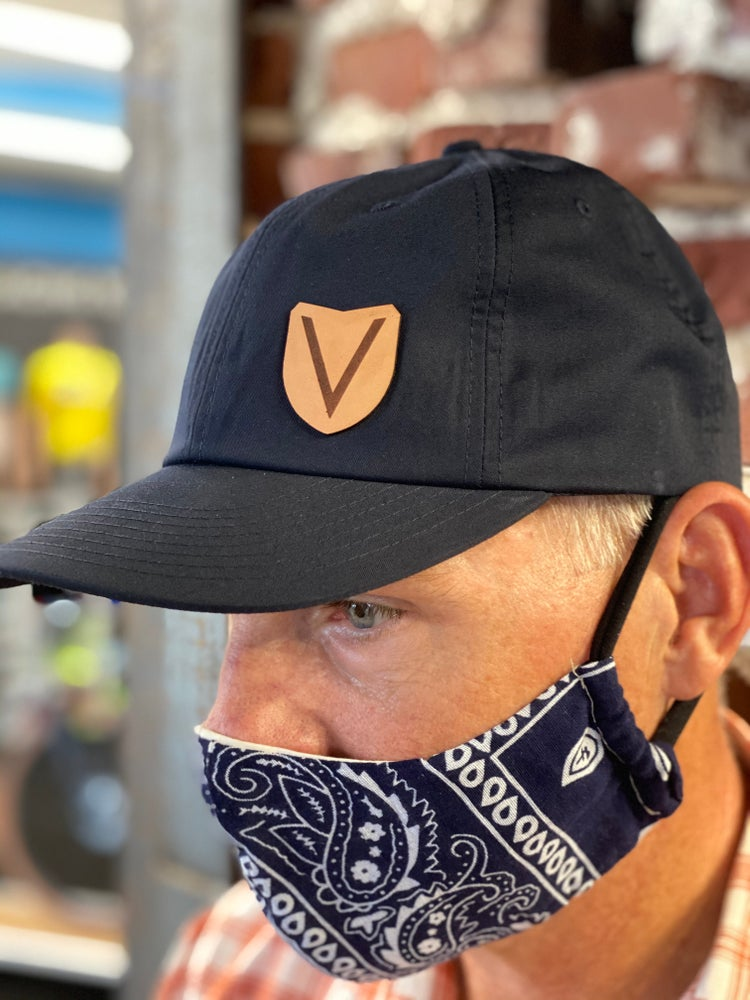 Image of Victory Leather Patch Hats- Navy