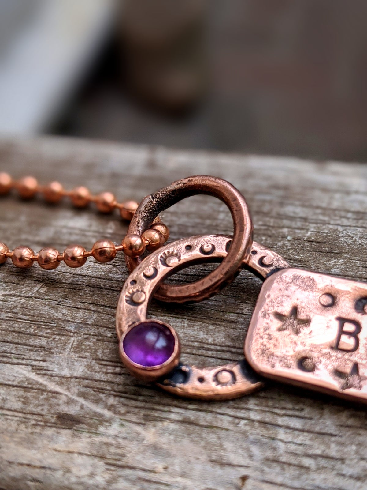 Be Still upcycled rustic copper & amethyst mantra pendant