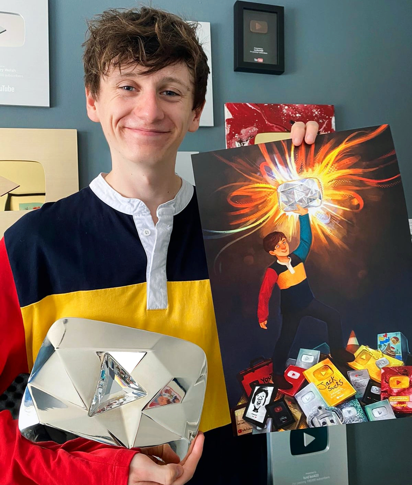 Image of JackSucksAtLife SIGNED A3 Diamond Play Button Poster