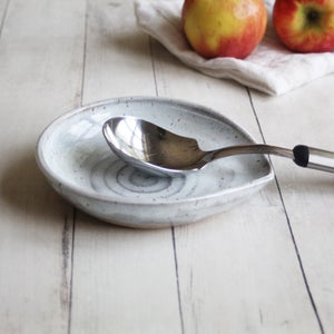 Image of Extra Large Spoon Rest in Icy White Blue Glaze, Handmade Spoon Dish, Made in USA