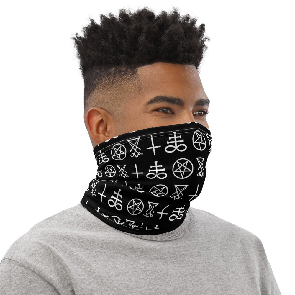 AshemaDeva Satanic Symbols All Over Print Neck Gaiter