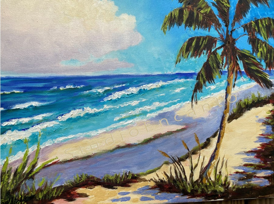 Image of Florida Surf, Sad and Palm by Mary Rose Holmes