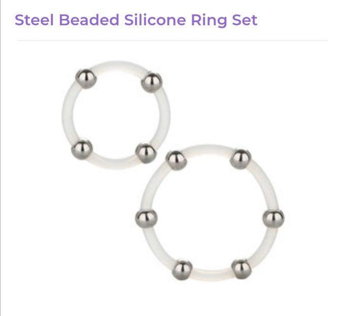 Image of Steel Beaded Silicone Ring Set