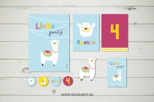 Image of Pack imprimible Llama Party