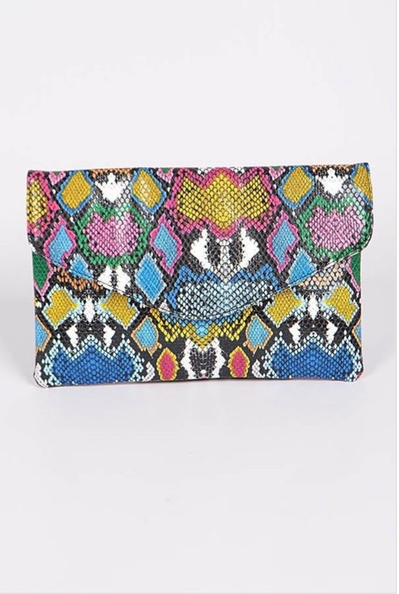Image of Multi Colored Snake Print Clutch