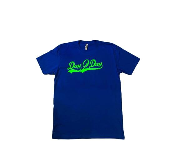 Blue/Neon Green Signature Logo Tee