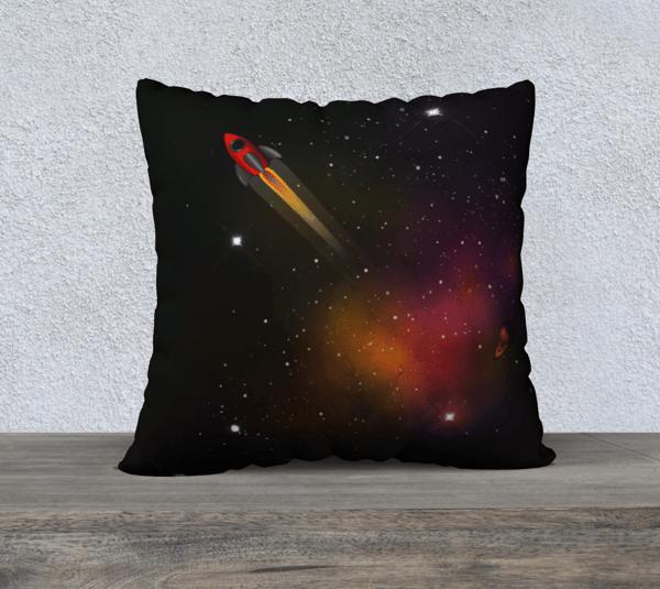 Image of Retro Rocket Cushion Cover