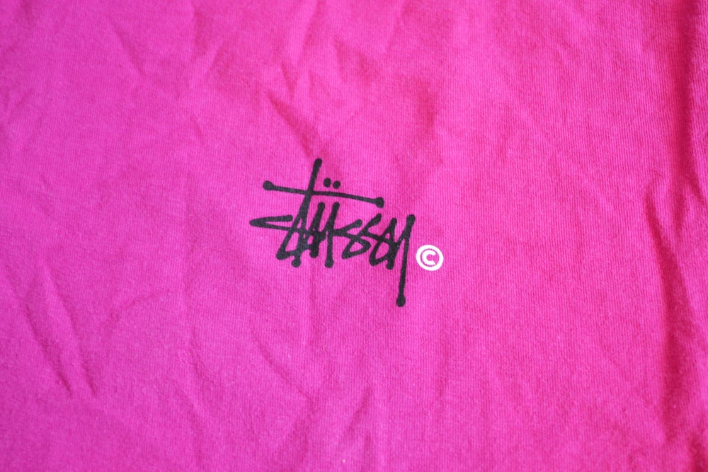Image of 2000's Stussy Script Pink Graphic Print T-Shirt Sz.M