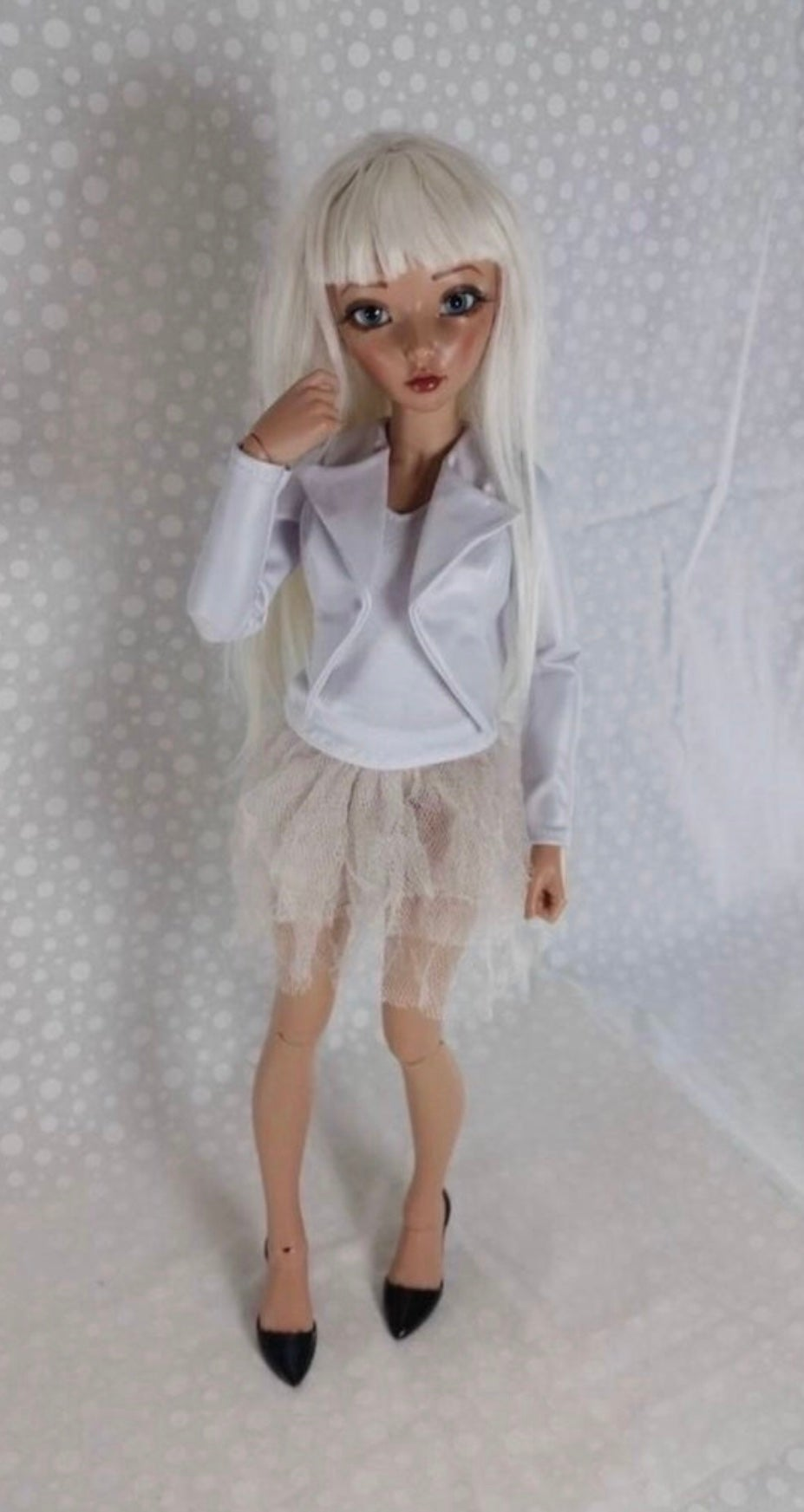 White  Pearl Biker Jacket: Minifee