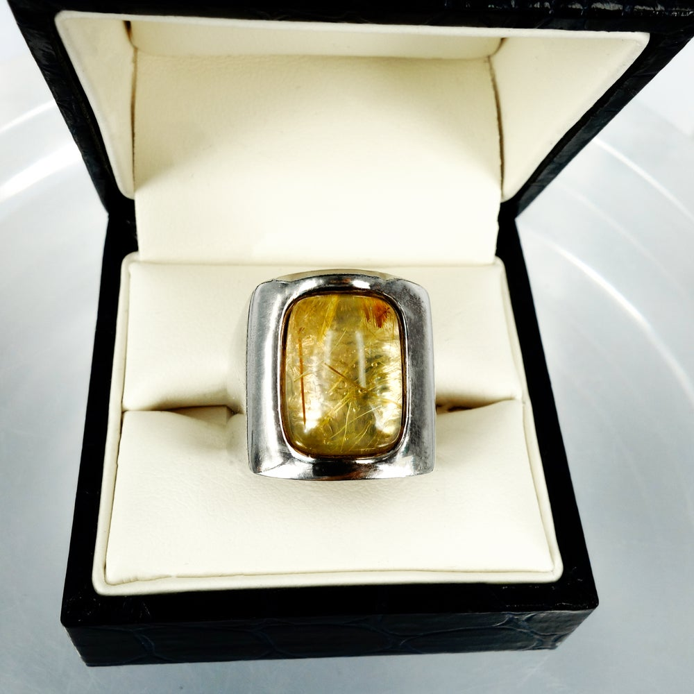 Image of Golden Rutilated Quartz cocktail ring