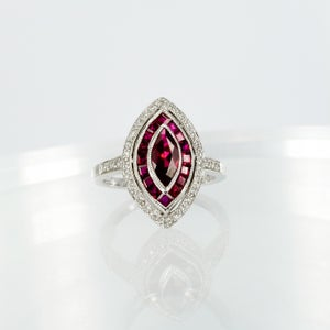 Image of 14ct white gold and created Ruby dress ring