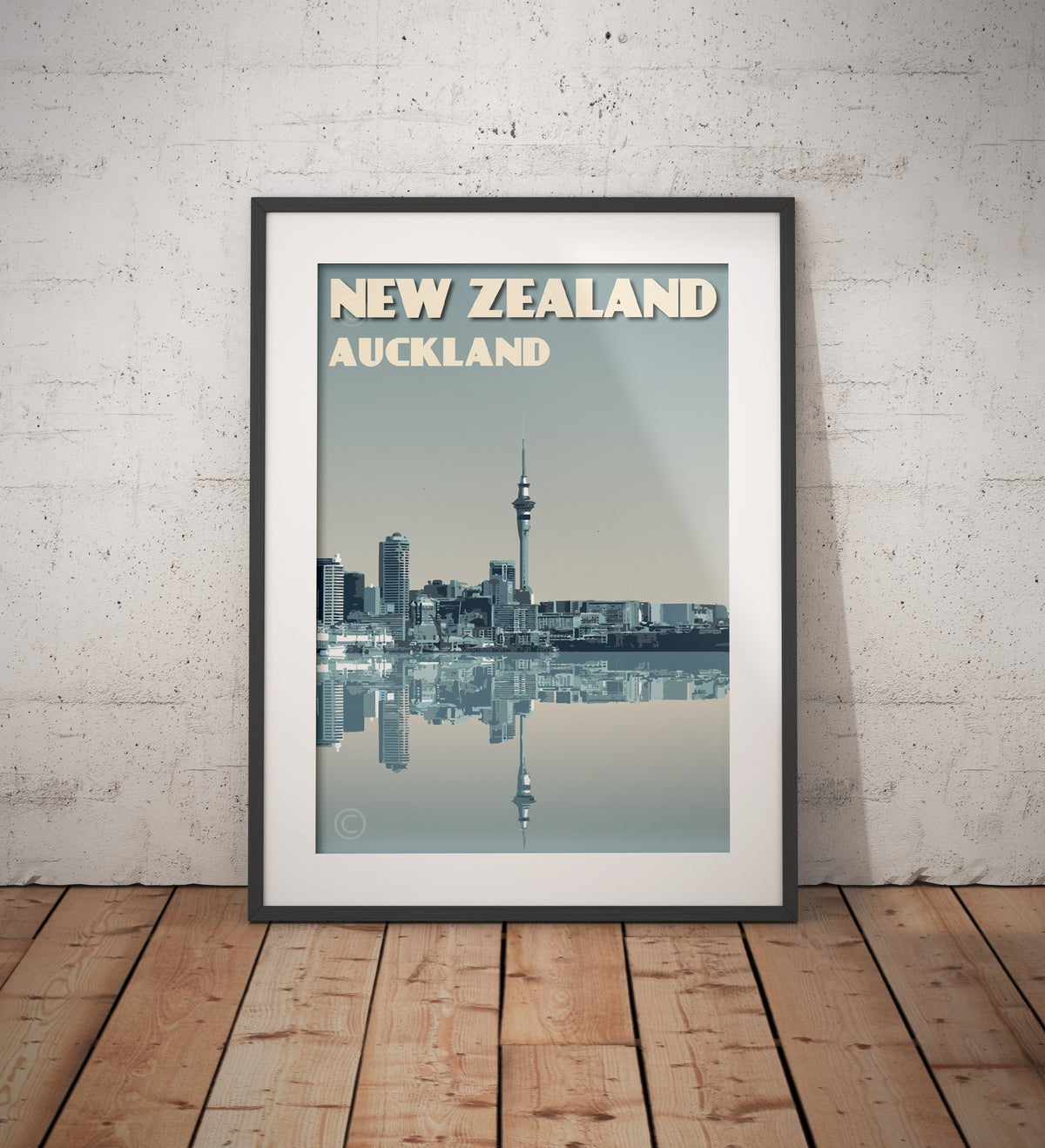 Image of Vintage poster New Zealand Auckland City Skyline | Wall Art decor | Cityscape | Blue
