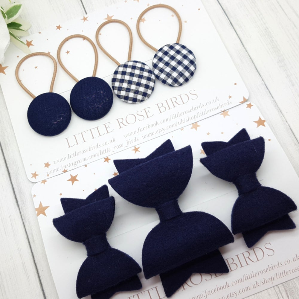 Image of Navy School Hair Bows