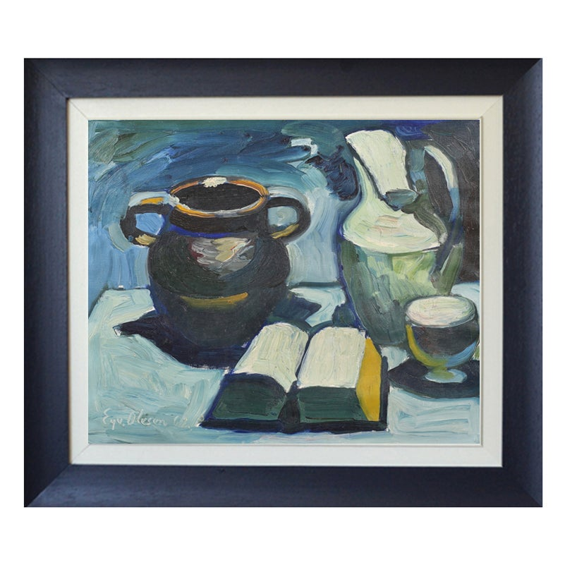 Image of 1962, Swedish Painting, 'Still Life with Book,' EYVIND OLESEN (1907 -1995)
