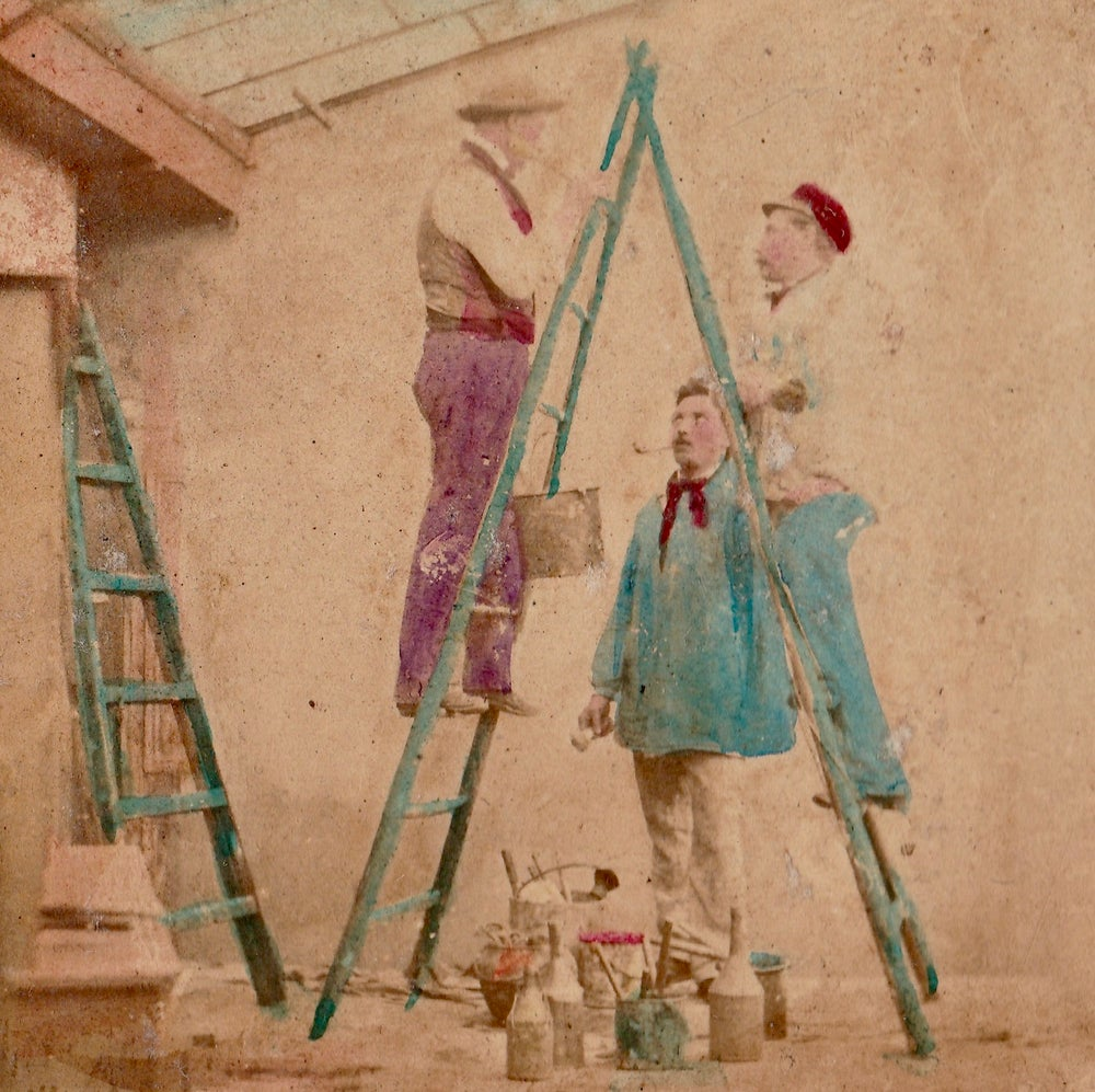 Image of Anonymous: painting the skylight studio, ca. 1860