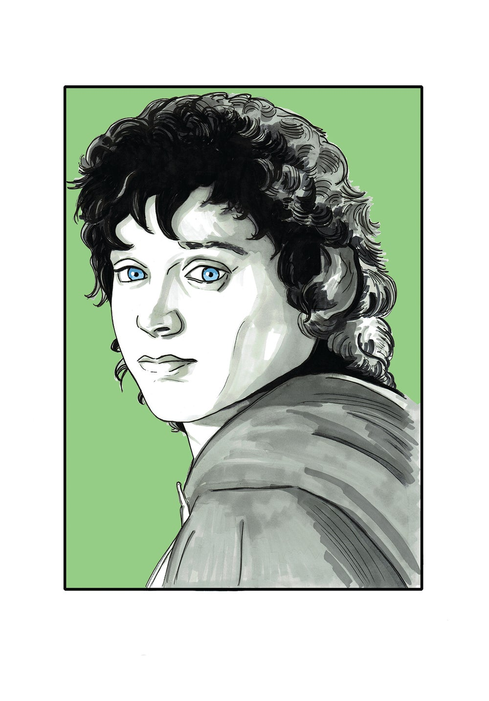 Image of Lord Of The Rings 'Frodo' A3 Hand Drawn Comic Illustration Signed A3 Print