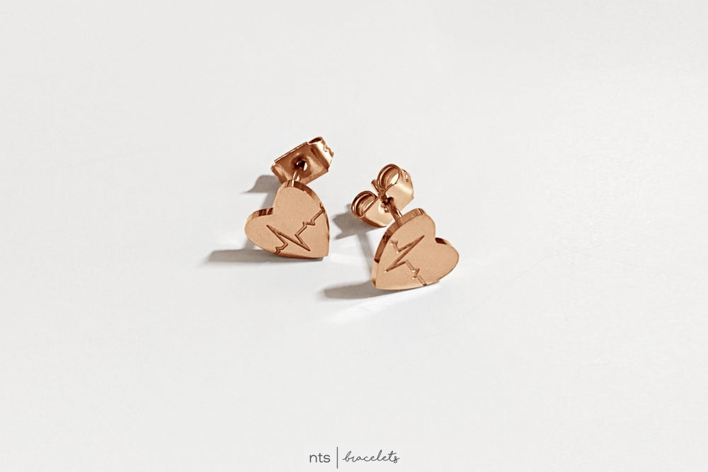 Image of EKG HEART EARRINGS (Limited Edition + Rose Gold)