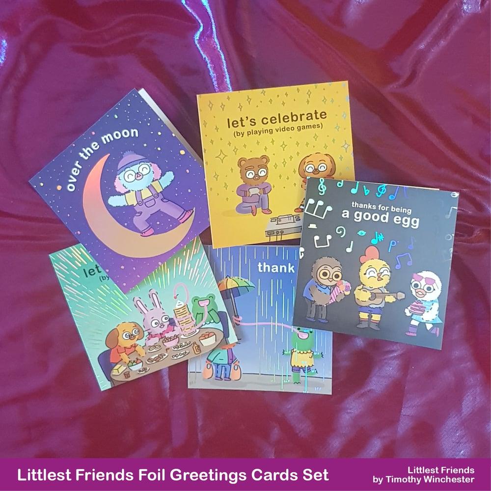 Littlest Friends 10cm foil greetings cards (set of five)