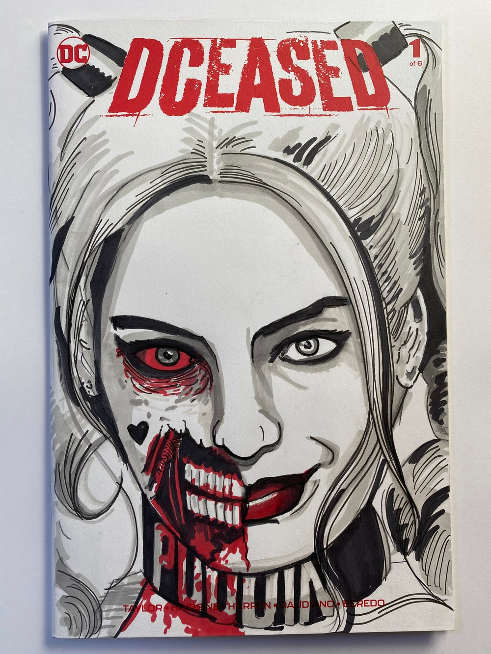 Image of DC Comics DCEASED #1 Sketch Cover with 'Zombie Harley Quinn' Original Art