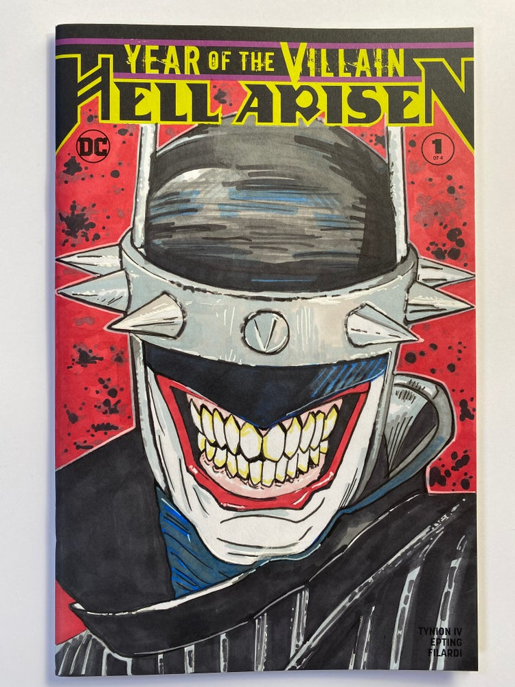 Image of DC Comics Hell Arisen #1 Sketch Cover with 'The Batman Who Laughs' Original Colour Art