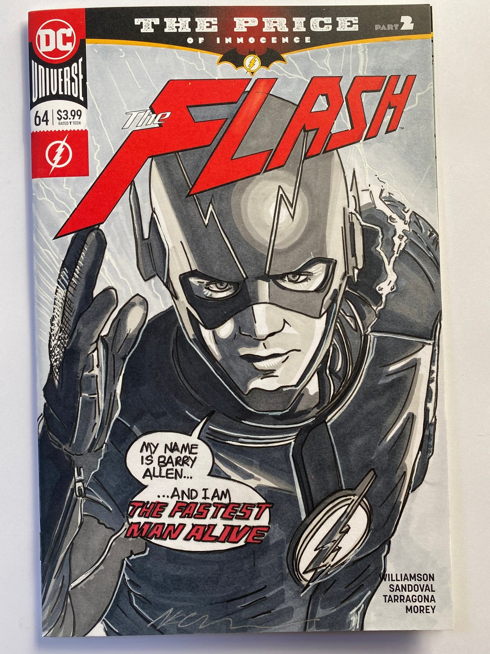 Image of DC Comics The Flash #64 Sketch Cover with 'The Flash' Original Art