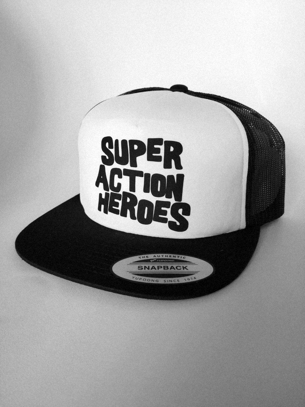 SUPER ACTION HEROES Logo Trucker Hat