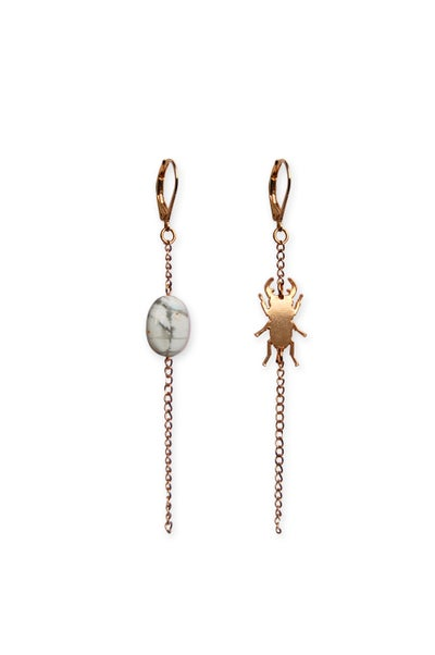 Image of Boucles d'oreilles MINI SCARABÉE - or rose