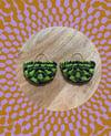 •bon bon• woven earrings - lime combos